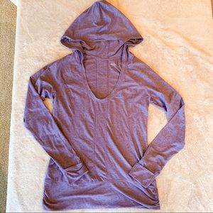 Zella Hooded Long Sleeve Workout Top Purple Large